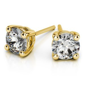 0.48 CT Round Cut Diamond and Gold Stud Earring