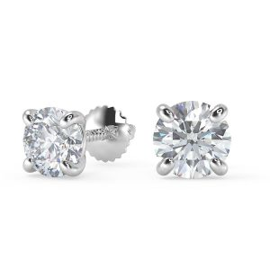 0.56 CT Round Cut Diamond and Gold Stud Earring