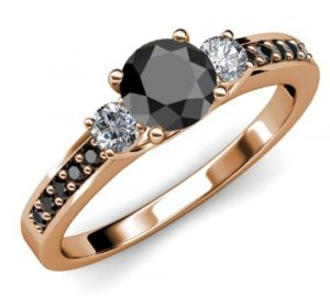 1.40 CT Black Solitaire Round Diamond Four Prong 14K Gold Engagement Ring