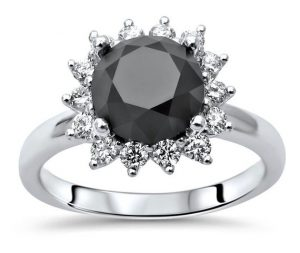 1.90 CT Black Solitaire Round Diamond 14K Gold Halo Pave Engagement Ring