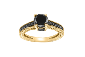 3.00 CT Black Solitaire Round Diamond 14K Gold Halo Pave Engagement Ring