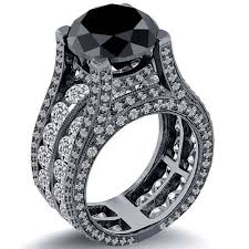 4.20 CT Black Solitaire Round Cut Diamond 14K Gold Engagement Ring